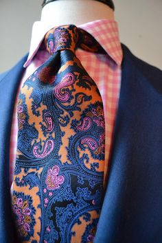 navy-orange-pink paisley tie