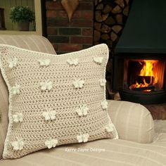 New pattern at Kerry Jayne Designs! 😊 The Butterfly Parade Pillow! With full photo tutorial from start to finish 😀 Crochet Scarf Diagram, Crochet Cushion Pattern, Crochet Butterfly Pattern, Crochet Shawl Free, Crochet Shoes Pattern, Crochet Flower Tutorial, Crochet Cushions, Chunky Crochet, Crochet Stitches Patterns