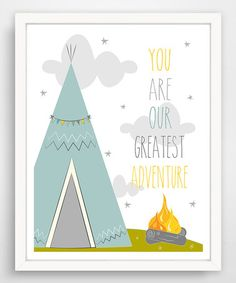 Look at this #zulilyfind! Blue 'Your Are Our Greatest Adventure' Teepee Wall Art #zulilyfinds