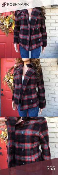 Woolrich red black plaid wool blend coat Red/black plaid coat. Wool blend. Lined. Comfy and warm! Woolrich Jackets & Coats
