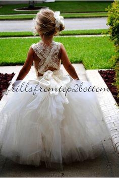 Ivory Flower Girl Dress . Tutu Skirt . Halter Top w/ Lace straps . Sizes 12mo…
