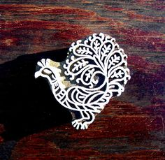 Peacock Hand Carved Wood Stamp Animal Indian by PrintBlockStamps, $12.50