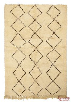 Beni Ourain Rug Vintage. Moroccan Pure Wool . Hand-knotted Handmade in Morocco Genuine and Authentic. 225 cm x 151 cm (BOJ1)