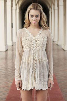 Best Seller! Ryu Anthropologie Cream Embroidered Crochet. Lace Appliques with Buttons down the front. Pair with Tall Boots & Skinnies. A must have for the Lace Fashionista!