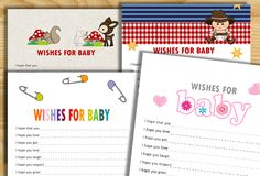 On this page you will find super cute Free Printable Wishes for Baby Cards…