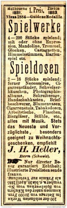 Original-Werbung/ Anzeige 1884 - SPIELWERKE / SPIELDOSEN / HELLER - BERN  - ca…