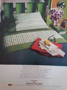 Vintage 1969 print ad for Cannon Royal Family 'Tempo' percale bed sheets in stripes of pink, blue, green, or bronze.