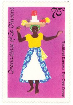 Vincent and the Grenadines - Cake dance postage stamp Caribbean Party, Postage Stamp Design, Caribbean Culture, Stamp Pad, Love Stamps, Thinking Day, Vintage Stamps, Girly, Mail Art