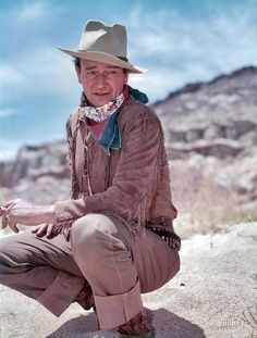 """Shorpy Historical Photo Archive :: Big John: 1953 - 1953. """"Actor John Wayne in costume during filming of Hondo."""" Photo by Maurice Terrell for the Look magazine article """"Big John."""""""