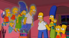 The Simpsons get haunted by their former selves. Treehouse of Horror XXV