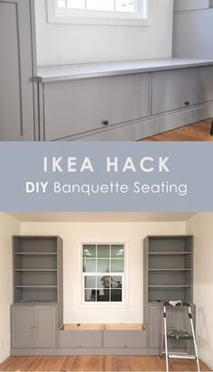 ikea hack, diy banquette seating, ikea havsta bench seating breakfast nook for dining table This is an IKEA HAVSTA hack for banquette seating. In this post, I'm sharing why I chose IKEA HAVSTA cabinet for this built-in, the cost and DIY process. Ikea Built In, Built In Bench, Home Renovation, Home Remodeling, Banquette Seating In Kitchen, Built In Dining Room Seating, Dining Nook, Dining Table Bench Seat, Diy Bench Seat