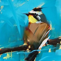 Horned Lark original bird oil painting by Angela Moulton 6 x 6 inches on panel prattcreekart ship date February 11