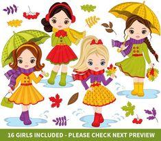 Autumn Girls Clipart, Vector Autumn Clipart, Fall Clipart, Little Girl Clipart