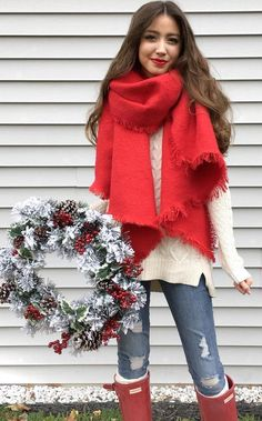 #winter #fashion /  Red Scarf + White Knit
