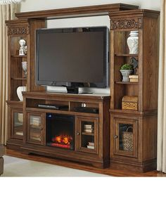 Trinell Brown Entertainment Center W Fireplace Option Category Entertainment Trinell Brown