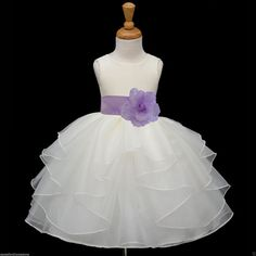 WHITE Organza flower girl dress more than 20 sash and flower colors bridemaid pageant wedding elegant girl 018A