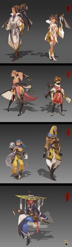 Angels and geisha kimono concept