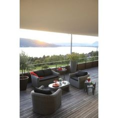 Salon bas de jardin Ice, 1 table, 2 fauteuils, 1 banquette