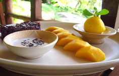 Mango Sticky Rice:     Served with coconut sauce and mango sorbet  Click here for recipe www.kamalaya.com/mango-with-sweet-sticky-rice.htm