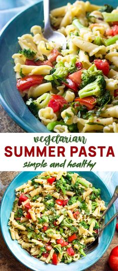 Simple Farm Stand Summer Pasta – Just a Little Bit of Bacon When the weather is hot it's time to go to the farm stand and make a fresh and simple vegetarian summer pasta! Great hot or cold, full of veggies, ripe tomatoes, and basil. Bacon Vegetable Recipes, Vegetarian Recipes, Healthy Recipes, Vegetable Salads, Sweets Recipes, Diet Recipes, Healthy Food, Desserts, Postres