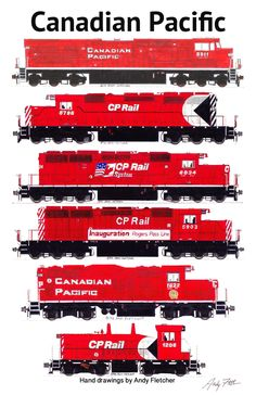 5 Canadian Pacific locomotives in the red paint scheme. Hand drawings by Andy Fletcher.