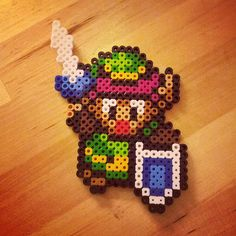 Link from Legend of Zelda perler sprite.  He's not too hard, just a few different colours,  but is super cute.
