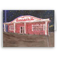 Swanson's Restaurant Greeting Card by figstreetstudio