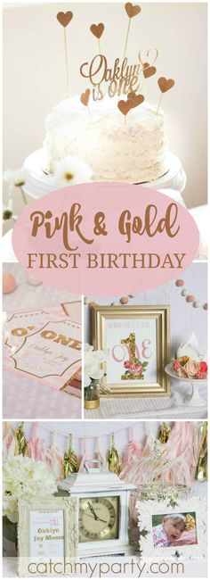 Love this idea for a gold and pink first birthday party! See more party ideas at http://CatchMyParty.com!