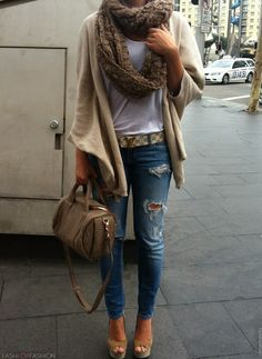 Ripped jeans, camel cardigan, infinity scarf, LV belt, nude peep toes.  fashforfashion -♛ STYLE INSPIRATIONS♛