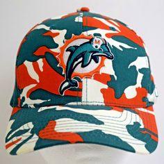 00c2aae9e Miami Dolphins Hat NFL Reebok Camo Cap Flexfit Orange Green White One Size   Reebok