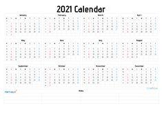 2021 Free Printable Yearly Calendar with Week Numbers in ...