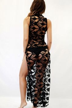 This slimming black lace cover up also has two thigh high slits on each side for maximum comfort while relaxing by the pool or on the beach. Lingerie Outfits, Sexy Outfits, Summer Outfits, Girl Outfits, Bikini Luxe, Lace Bikini, Sheer Bikini, Bikini Swimwear, Bikinis