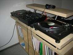 Build a home dj booth with parts from Ikea.