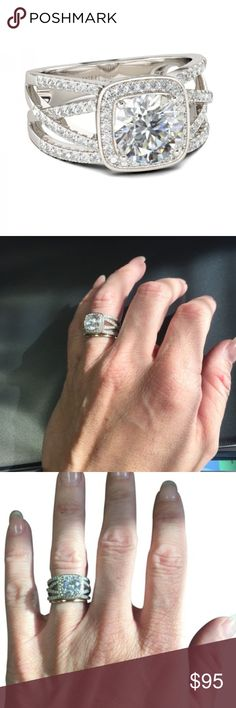 Gorgeous Real Sterling Silver Engagement Ring Halo Rings And Delicate