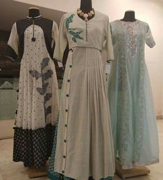 Beautiful Chanderi Long Kurtis/Dresses with superb embellishments and detailing.