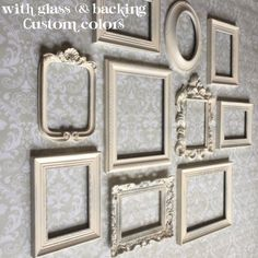 Custom Picture Frames for the Home or Wedding. Vintage Style, shabby chic A collection of vintage style frames in creamy white or your choice of colors. Tabletop and wall collage backings. DISTRESSED edges FOR A VINTAGE, SHABBY CHIC LOOK! LISTING IS FOR ALL10 PICTURE FRAMES WITH GLASS AND BACKING. The set will include two 8x10s, six 5x7s, and two 4x6s to give a variety of depth and height. Price includes three ornate frames, an oval frames, and six detailed rectangular frames just as…