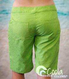 Coola Cozzies women's board shorts in sizes 8 to 24. Lime green. #swimwear #boardshorts #womensswimwear