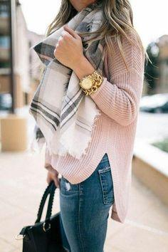 BLUSH sweater + MID-WASH jeans + GRAY/BLUSHplaid scarf