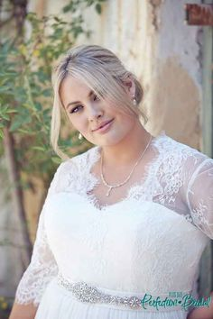 Im loving a lace sleeve wedding dress the Elegance at the moment. Come in to Leah S Designs and try our range of plus size wedding dresses to a size 36.