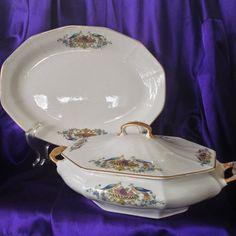 Antique Tureen Matching Platter Martha by VisualaromasVintage