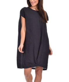 Loving this Navy Blue Linen Tunic Dress - Plus Too on #zulily! #zulilyfinds