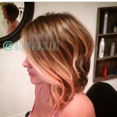Rose gold, balayage highlights, give a soft pop of color! www.facebook.com/blowhairstudio727 ***instagram @blowhairstudio***