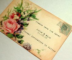 Victorian save the date postcard wedding rustic roses envelope set 12