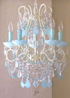 5 light Beaded Chandelier with Opal Aqua Blue Crystals ~ I absolutely adore this!