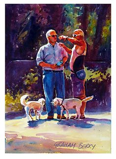 """Meeting in the park by Graham Berry Watercolor ~ 14"""" x 10"""""""