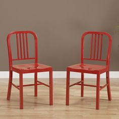 Red Metal Side Chairs (Set of 2) - Overstock™ Shopping - Great Deals on Dining Chairs $160