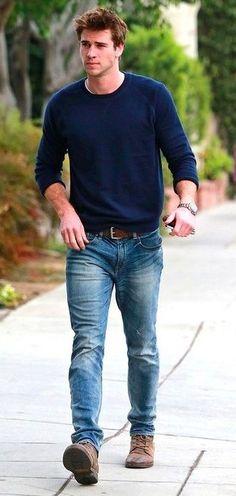 Men's casual fashion style: 50 looks to try pin erkek tarzı, erkek günlük g Outfit Jeans, Lässigen Jeans, Sweatshirt Outfit, Mens Sweater Outfits, Torn Jeans, Jeans Shoes, Sweater Dresses, Dress Clothes, Jeans Dress