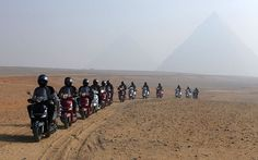 The Cross Egypt Challenge riders rode their scooters 1700 miles across Egypt to promote tourism following the revolution