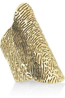 Yves Saint Laurent Gold-plated embossed fingerprint ring | NET-A-PORTER