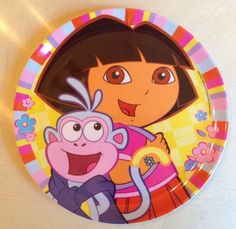 "Nickelodeon ""Dora The Explorer""  Mealtime Fun Dinner Plate 8"" Melamine Zak #Nickelodeon"